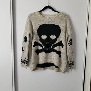 Chunky Knit Beige and Black Skull Sweater
